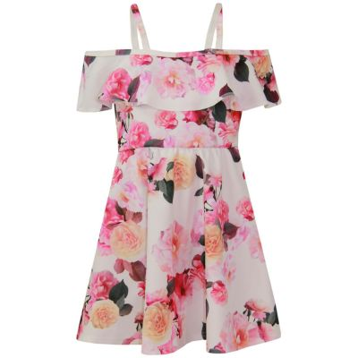 A2Z Trendz Girls Skater Dress Flowers Print Summer Party Fashion Off Shoulder Dresses New Age 7 8 9 10 11 12 13 Years
