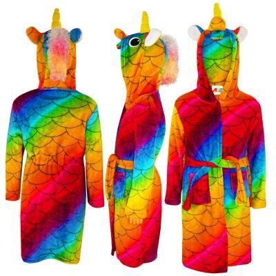 A2Z Trendz Kids Girls Bathrobes Designer's 3D Animal Unicorn Rainbow Scales Hooded Soft Short Fleece Dressing Gown Nightwear Loungewear Age 2-13 Years