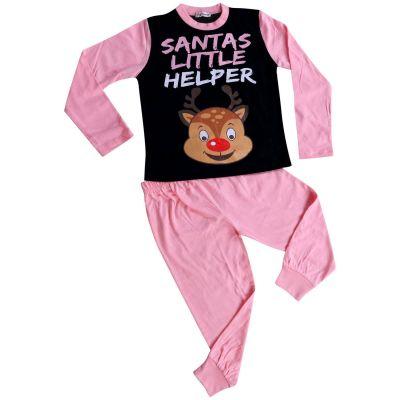A2Z Trendz Kids Girls Pyjamas Santas Little Helper Reindeer Print Stylish Baby Pink Contrast Sleeves Pajamas Xmas Set New Age  2 3 4 5 6 7 8 9 10 11 12 13 Years