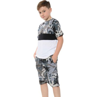A2Z Trendz Kids Girls Boys Shorts Set 100% Cotton Camouflage Charcoal Contrast Panelled Trendy Fashion T Shirt Top & Short Pants Sportswear Outfit Clothing Sets 5 6 7 8 9 10 11 12 13 Years