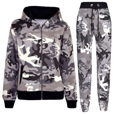 A2Z Trendz Kids Tracksuit Boys Girls Designer's Charcoal Camouflage Print Zipped Top Hoodie & Botom Jogging Suit Age 5 6 7 8 9 10 11 12 13 Years