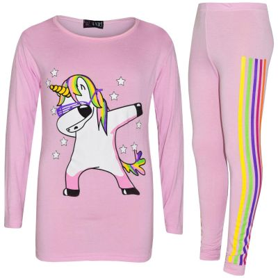A2Z Trendz Kids Girls Designer's Rainbow Unicron Dab Floss  Baby Pink Long Sleeves Top & Legging Lounge Wear Xmas Outfit Set New Age 7 8 9 10 11 12 13 Years