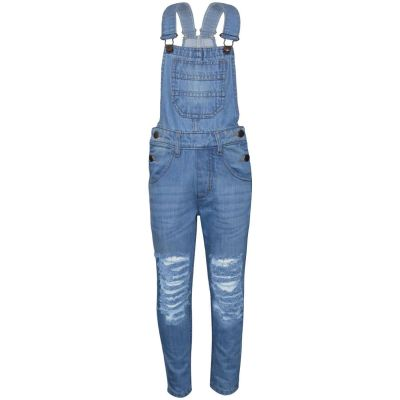 A2Z Trendz Kids Girls Denim Light Blue Dungaree Designer's Ripped Jeans Overall All In One Jumpsuit Playsuits Age 5 6 7 8 9 10 11 12 13 Years