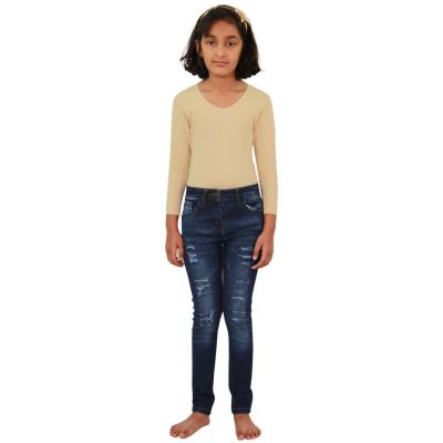 A2Z Trendz Kids Girls Skinny Jeans Designer's Denim Ripped Fashion Stretchy Jeggings Pants Stylish Dark Blue Trousers New Age 3 4 5 6 7 8 9 10 11 12 13 Years