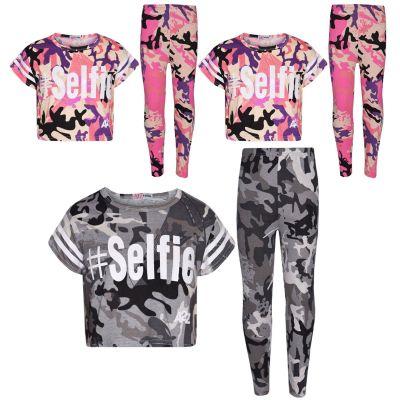 A2Z Trendz Girls Top Kids Designer's #Selfie Camouflage Print Trendy Crop Top & Fashion Legging Set New Age 5 6 7 8 9 10 11 12 13 Years