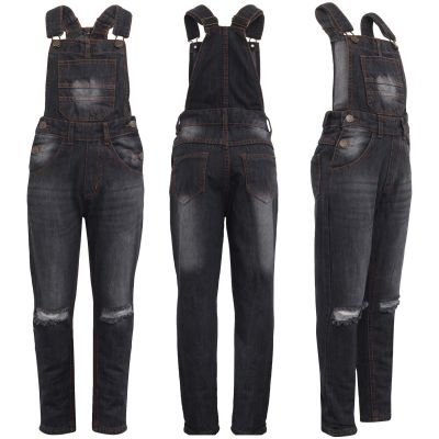 A2Z Trendz Kids Girls Denim Dungaree Designer's Knee Ripped Black Jeans Overall All In One Jumpsuit Playsuits Age 5 6 7 8 9 10 11 12 13 Years