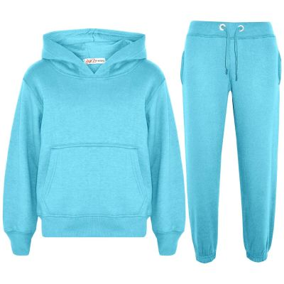 Girls Plain Aqua Hooded Tracksuit