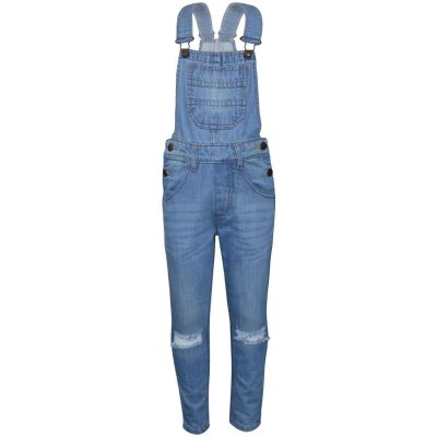 A2Z Trendz Kids Girls Denim Dungaree Designer's Knee Ripped Light Blue Jeans Overall All In One Jumpsuit Playsuits Age 5 6 7 8 9 10 11 12 13 Years