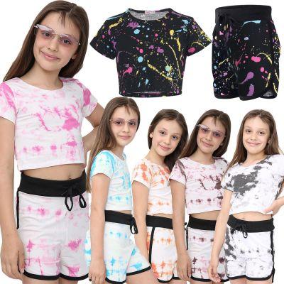 Girls Tie Dye Print Summer Top & Hot Shorts Set