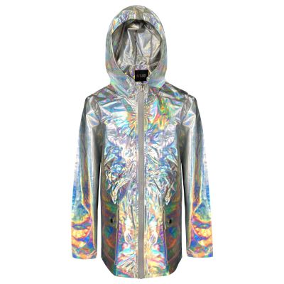 A2Z Trendz Girls Holographic Iridescent Shiny Silver Raincoat Hooded Jacket Rain Mac Lightweight Kag Mac Waterproof Cagoule Kids Showerproof Coat Age 5 6 7 8 9 10 11 12 13 Years