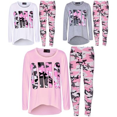 A2Z Trendz Girls Top Kids Designer's OMG Camouflage Print Trendy T Shirt Tops & Legging Set Age 7 8 9 10 11 12 13 Years