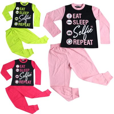 A2Z Trendz Kids Girls Boys Pyjamas Designer's Eat Sleep Selfie Repeat Cotrast Sleeves Stylish Loungewear Nightwear PJS New Age 2 3 4 5 6 7 8 9 10 11 12 13 Years
