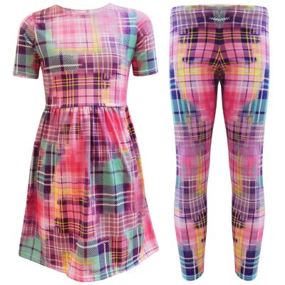 A2Z Trendz Kids Girls New Style Tartan Multi Colours Print Leggings And Skater Dresses New Age 7 8 9 10 11 12 13 Years