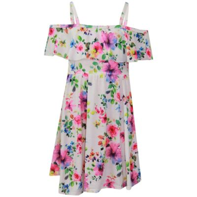 A2Z Trendz Girls Skater Dress Floral Purple Print Summer Party Fashion Off Shoulder Dresses New Age 7 8 9 10 11 12 13 Years