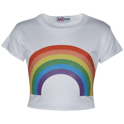 A2Z Trendz Kids Girls Crop Tops Rainbow Print White Stylish Fahsion Trendy T Shirt Tank Top & Tees New Age 5 6 7 8 9 10 11 12 13 Years