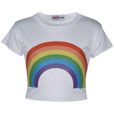 A2Z Trendz Kids Girls Crop Tops Rainbow Print White Stylish Fahsion Trendy T Shirt Tank Top & Tees New Age 5 6 7 8 9 10 11 12 13 Years