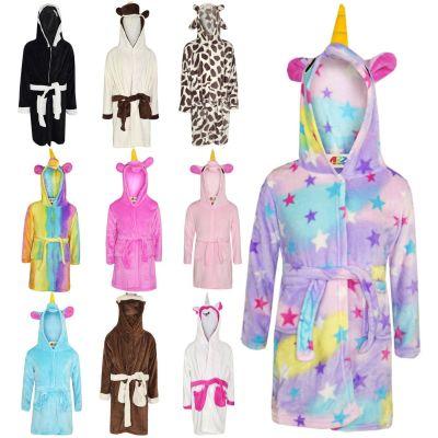 A2Z Trendz Girls Boys Bathrobe Kids Animal Soft Short Hooded Fleece Unicorn Cosplay Bathrobe Dressing Gown Night Lounge Wear Age 5-13 14 Years