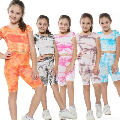 A2Z Trendz Kids Girls Crop Top & Cycling Shorts Tie Dye Print Trendy Fashion Summer Clothing Outfit Crop & Short Sets New Age 5 6 7 8 9 10 11 12 13 Years