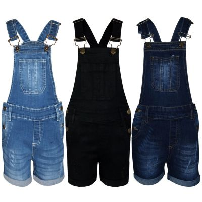 A2Z Trendz Kids Girls Dungaree Shorts Designer's Denim Ripped Stretch Jeans Overall All In One Jumpsuit Playsuit Age 5 6 7 8 9 10 11 12 13 Years