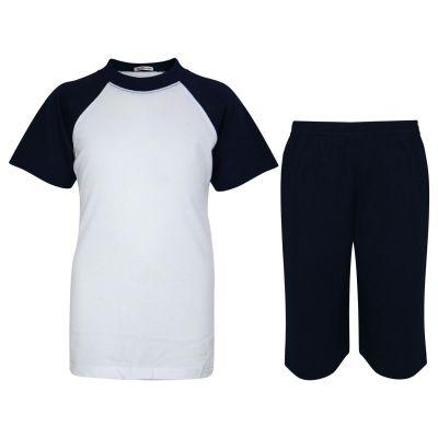 A2Z Trendz Kids Girls Boys Pyjamas Set Plain Navy Contrast Color Short Sleeves T Shirt Top & Knee Length Shorts Sleepwear Summer Outfit Sets Nightwear PJS New Age 2 3 4 5 6 7 8 9 10 11 12 13 Years