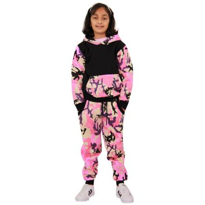 A2Z Trendz Kids Boys Girls Tracksuit Designer's Camouflage Baby Pink & Black Contrast Panel Zipped Top Hoodie & Botom Jogging Suit Age 7 8 9 10 11 12 13 Years