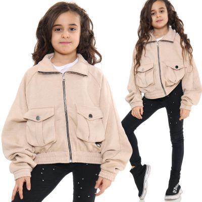 Kids Girls Plain Zip Up Cropped Jackets Stone Fleece Stylish Utility Pockets Jackets Fashion Thick Coats.
