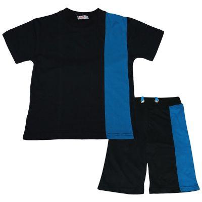 A2Z Trendz Kids Boys T Shirt Shorts 100% Cotton Contrast Panelled Trendy Fashion Summer Black Top Short Set New Age 5 6 7 8 9 10 11 12 13 Years