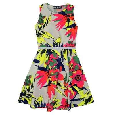 A2Z Trendz Girls Skater Dress Kids Neon Tropical Print Summer Party Dresses New Age 7 8 9 10 11 12 13 Years