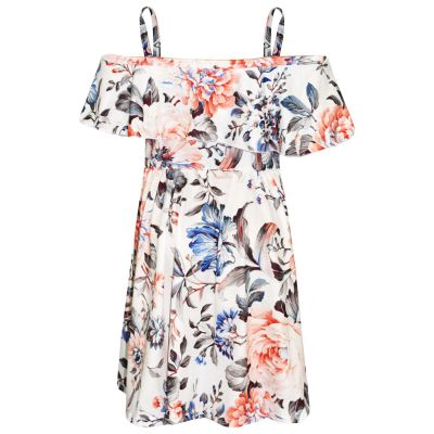 A2Z Trendz Girls Skater Dress Kids Peach Floral Print Summer Party Fashion Off Shoulder Dresses New Age 7 8 9 10 11 12 13 Years