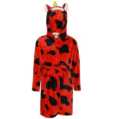 A2Z Trendz Kids Girls Bathrobes Designer's 3D Animal Cow Red Hooded Soft Short Fleece Dressing Gown Nightwear Loungewear Age 2-13 Years