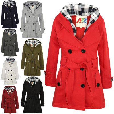 A2Z Trendz Kids Girls Parka Jacket Hooded Trench Coat Fashion Wool Blends Warm Padded Jacket Oversized Lapels Belted Cuffs Long Overcoat New Age 5 6 7 8 9 10 11 12 13 Years