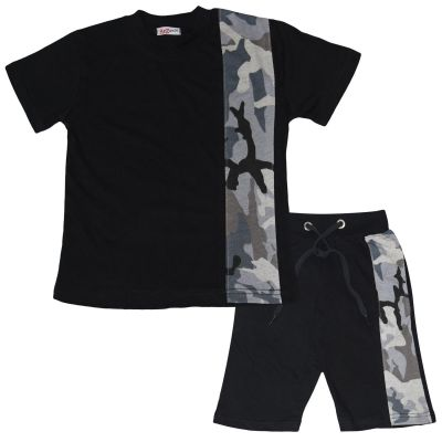 A2Z Trendz Kids Boys T Shirt Shorts 100% Cotton Camo Charcoal Contrast Panelled Trendy Fashion Summer Top Short Set New Age 5 6 7 8 9 10 11 12 13 Years
