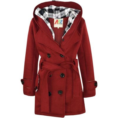 A2Z Trendz Kids Girls Parka Jacket Hooded Trench Coat Fashion Wool Blends Warm Padded Wine Jacket Oversized Lapels Belted Cuffs Long Overcoat New Age 5 6 7 8 9 10 11 12 13 Years