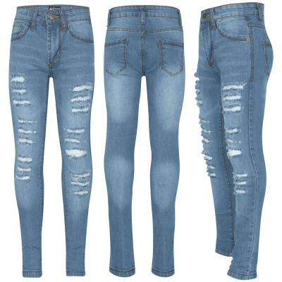 A2Z Trendz Kids Girls Skinny Jeans Designer's Denim Ripped Fashion Stretchy Jeggings Pants Stylish Light Blue Trousers New Age 3 4 5 6 7 8 9 10 11 12 13 Years