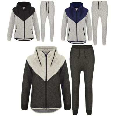 A2Z Trendz Kids Tracksuit Boys Girls Designer's Contrast Panel Zipped Top Hoodie & Botom Jogging Suit Joggers Age 7 8 9 10 11 12 13 Years