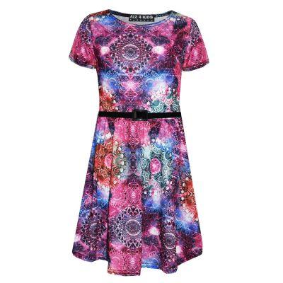 A2Z Trendz Girls Skater Dress Kids Kaleidoscope Print Summer Party Dresses Age 7 8 9 10 11 12 13 Years