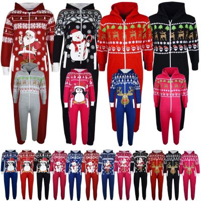 KIDS GIRLS BOYS NOVELTY CHRISTMAS SANTA CLAUS PENGUIN SNOWMAN REINDEER PRINT ONESIE ALL IN ONE JUMPSUIT NEW AGE 7-13 YEARS