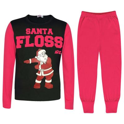 Kids Girls Boys Pyjamas Trendy Santa Floss Pink Xmas Gift Loungewear Pjs Outfits