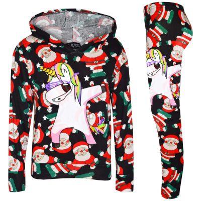 A2Z Trendz Kids Girls Tracksuit Designer's Santa Black Unicron Dab Hooded Top & Legging Lounge Wear Outfit Set Xmas Costume New Age 7 8 9 10 11 12 13 Years