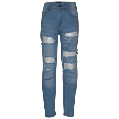 Kids Boys Stretchy Jeans Light Blue Ripped Denim Skinny Bikers Pant Slim Trouser