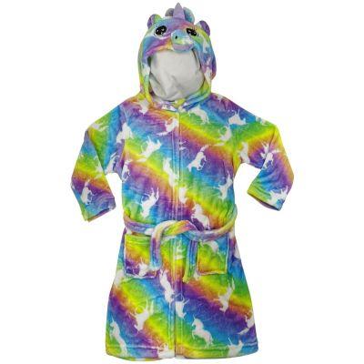 A2Z Trendz Kids Girls Hooded Bathrobe 3D Unicorn Rainbow Extra Soft Fluffy Plush Fleece Xmas Cosplay Costume Loungewear Nightwear Dressing Gown Relax Suit New Age 2 3 4 5 6 7 8 9 10 11 12 13 Years