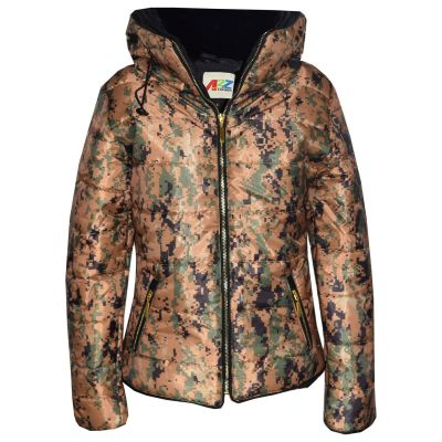 A2Z Trendz Girls Jacket Kids Stylish Padded Camouflage Splash Print Puffer Bubble Fur Collar Quilted Warm Thick Coat Jackets 3 4 5 6 7 8 9 10 11 12 13 Years