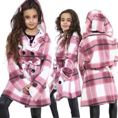 Kids Girls Hooded Trench Coat Fashion Warm Wine Check Jacket Oversized Lapels Belted Cuffs Long Overcoat.