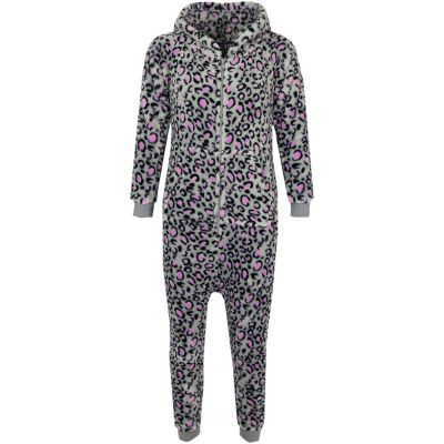 A2Z Trendz Kids Boys Girls Onesie Extra Soft Fluffy 3D Animal Leopard Pink & Grey All In One Xmas Costume Jumpsuit New Age 2 3 4 5 6 7 8 9 10 11 12 13 Years