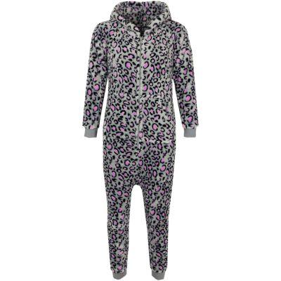 Kids Girls Boys Extra Soft Leopard Pink & Grey Onesie