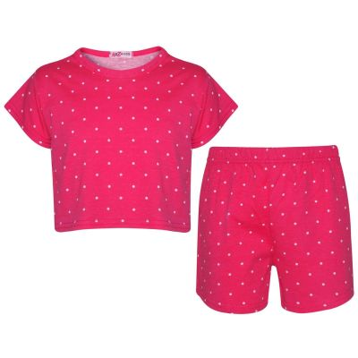 A2Z Trendz Kids Girls Crop & Shorts Pink Polka Dot Print Trendy Fashion Summer Outfit Top & Short New Age 5 6 7 8 9 10 11 12 13 Years