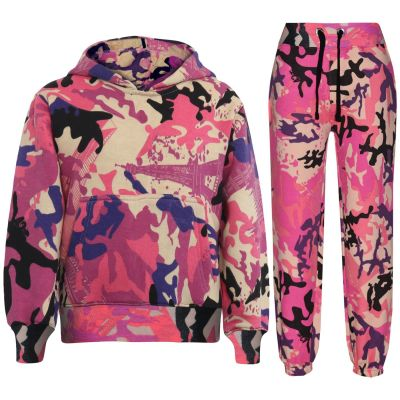 Kids Girls Camouflage Baby Pink Tracksuit Hooded Hoodie Jogging Suit Joggers