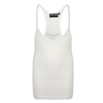 A2Z Trendz Kids Girls Racer Back Vest Top Designer's White Fashion Tank Tops T Shirts New Age 5 6 7 8 9 10 11 12 13 Years