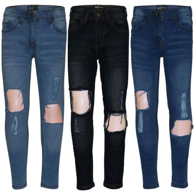 A2Z Trendz Kids Girls Skinny Ripped Jeans Designer's Denim Trendy Fashion Stretchy Jeggings Pants Stylish Slim Fit Trousers New Age 5 6 7 8 9 10 11 12 13 Years