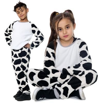 Kids Girls Boys Pyjamas Cow Print Loungewear Flannel Fleece Nightwear PJS.